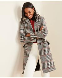 Ann Taylor Plaid Chesterfield Coat - Multicolor