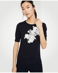 Ann Taylor | Floral Applique Sweater Tee | Lyst