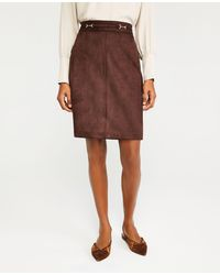 Ann Taylor Faux Suede Belted A-line Skirt - Brown