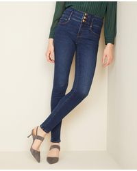 Ann Taylor Sculpting Pocket High Rise Skinny Jeans In Classic Indigo Wash - Blue