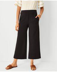 Ann Taylor The Petite Knit Wide Leg Crop Pant - Black