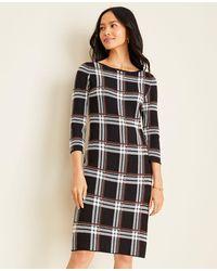 Ann Taylor Petite Plaid Jumper Dress - Black