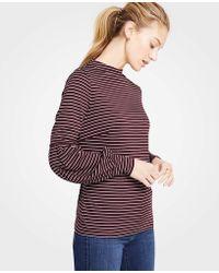 Ann Taylor - Stripe Lantern Sleeve Mock Neck Top - Lyst