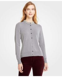 Ann Taylor - Jeweled Neck Ann Cardigan - Lyst
