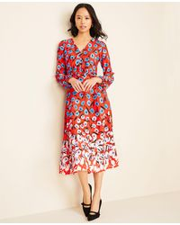 Ann Taylor Multicolored Poppy Belted Midi Dress
