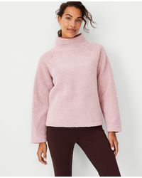 Ann Taylor Sherpa Mock Neck Top - Pink