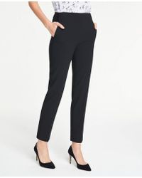 Ann Taylor The Side-zip Ankle Pant In Bi-stretch - Black