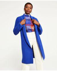 Ann Taylor Mixed Ribbed Coatigan - Blue