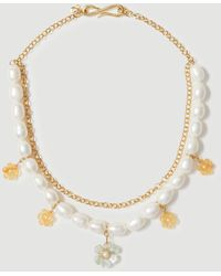 Ann Taylor Flower Pearlized Chain Statement Necklace - Metallic