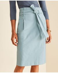 Ann Taylor Pleated Tie Waist Pencil Skirt - Blue