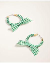 Ann Taylor Gingham Bow Hoop Earrings - Green