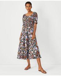 Ann Taylor Tall Batik Midi Flare Dress - Black