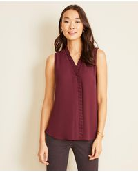 Ann Taylor Pleated Ruffle V-neck Shell - Purple