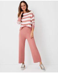 Ann Taylor The Petite Wide Leg Jumper Pant - Pink