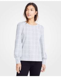 Ann Taylor - Plaid Puff Sleeve Sweatshirt - Lyst