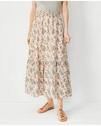 Ann Taylor Petite Floral Flounce Pull On Maxi Skirt - Multicolour