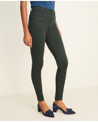Ann Taylor Sateen High Rise Performance Stretch Skinny Jeans In Dark Tea Green