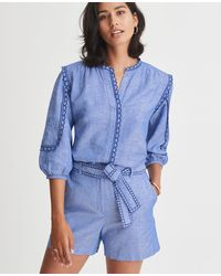 Ann Taylor Petite Chambray Scalloped Popover - Blue