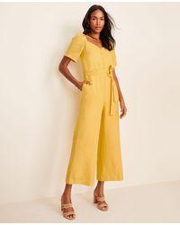 Ann Taylor Tie Waist Jumpsuit - Yellow