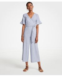 Ann Taylor - Petite Fluted Sleeve Linen Blend Jumpsuit - Lyst
