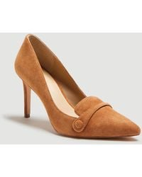 Ann Taylor Maryanne Suede Button Loafer Court Shoes - Brown