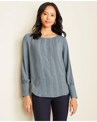 Ann Taylor - Pintucked Boatneck Blouse - Lyst