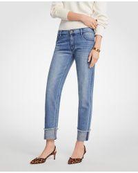 Ann Taylor   Petite Frayed Cuff Girlfriend Jeans   Lyst