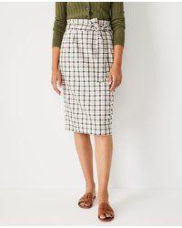 Ann Taylor Plaid Paperbag Pencil Skirt - Multicolor