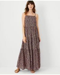 Ann Taylor Petite Floral Strappy Tiered Maxi Dress - Multicolour