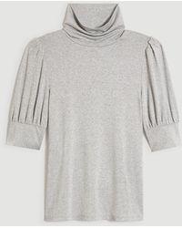 Ann Taylor Petite Shimmer Puff Sleeve Mock Neck Top - Metallic
