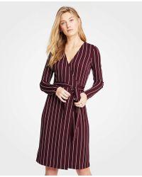 Ann Taylor - Ls Wrap Dress In Sally Stripe - Cyber - Lyst