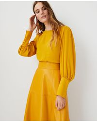 Ann Taylor Mixed Media Puff Sleeve Top - Yellow