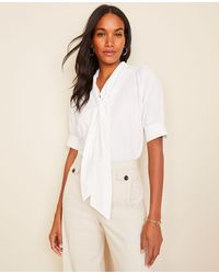 Ann Taylor Petite Smocked Shoulder Bow Blouse - White