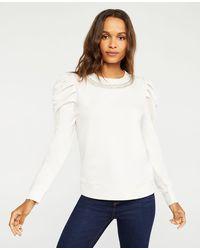 Ann Taylor Petite Embellished Puff Sleeve Sweatshirt - White