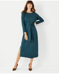 Ann Taylor Tie Waist Midi Flare Dress - Green