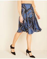 Ann Taylor Geo Full Skirt - Blue