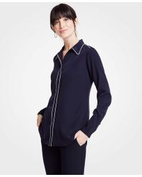 Ann Taylor - Piped Silky Perfect Shirt - Lyst