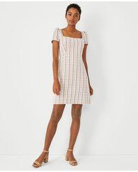 Ann Taylor Madras Plaid Puff Sleeve Flare Dress - White