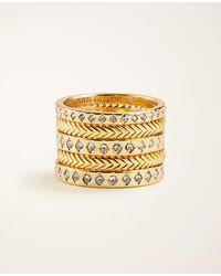 Ann Taylor Pave Stacked Ring Set - Metallic