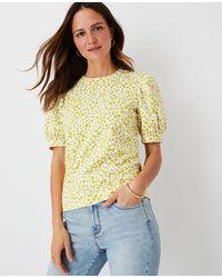 Ann Taylor Floral Puff Sleeve Sweatshirt - Yellow