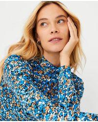 Ann Taylor Floral Turtleneck Top - Blue