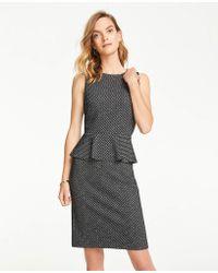 Ann Taylor Petite Herringbone Knit Peplum Sheath Dress - Black