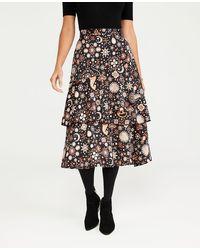 Ann Taylor Garden Angled Flounce Midi Skirt - Black