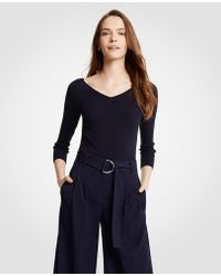 Ann Taylor - Ribbed Wide V-neck Sweater - Lyst