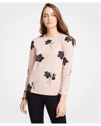 Ann Taylor - Shimmer Floral Sweatshirt - Lyst