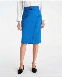 Ann Taylor Belted Wrap Pocket Pencil Skirt - Curvy Fit - Blue
