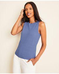 Ann Taylor Linen Blend Sweater Shell - Blue