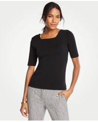 Ann Taylor - Square Neck Luxe Tee - Lyst