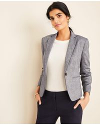 Ann Taylor The Newbury Blazer In Piped Chambray - Blue