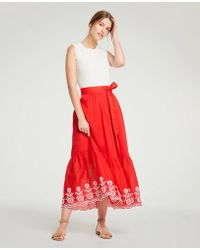 Ann Taylor - Floral Embroidered Tie Waist Maxi Skirt - Lyst